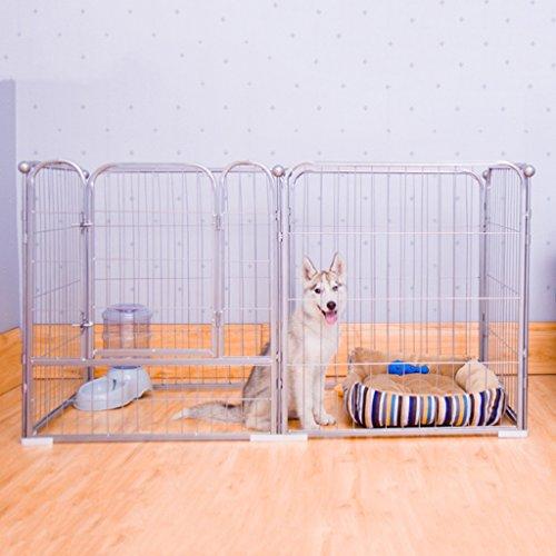 Große Hunde-Laufgitter Indoor Outdoor, Lila Metall Haustier Zaun Haus, Modulare Box Kennel 6 Panel (Farbe : Silber, größe : M(160 * 80 * 90cm))