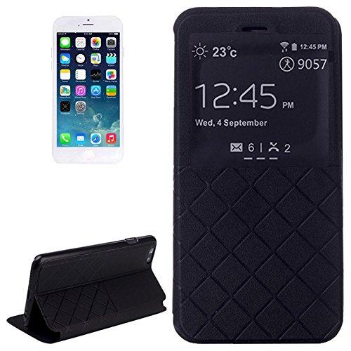 wortek Flip Case Apple iPhone 6 4,7 Zoll Etui mit Sichtfenster & Standfunktion Book Style Diamant Muster Weiß Schwarz