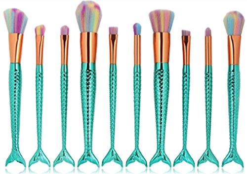 10 Meerjungfrau Make-up Pinsel Profi schöne Pulver Lippe Concealer Schatten Blending Brush Kit Kosmetik für Gesicht MAG 5395 Grün