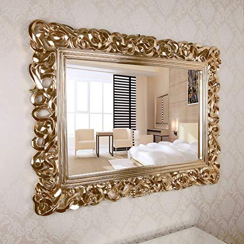 Espejo de pared Decorativo Rectangular Grande, Espejo con Marco Barroco Adornado de Oro Antiguo, Utilizado...