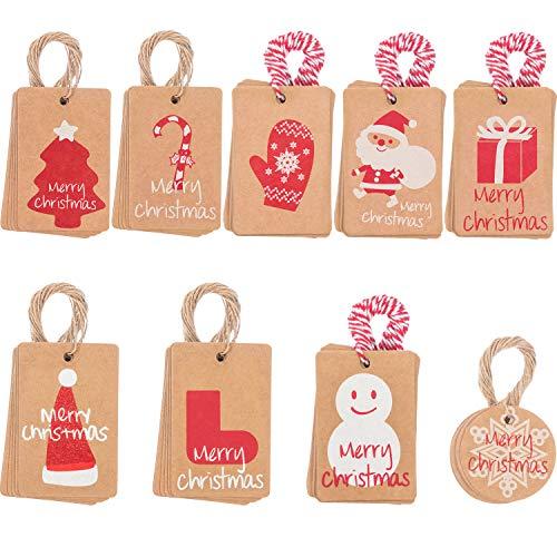 90 Piezas de Etiquetas de Regalo de Navidad con Cordel 100 Piezas, 9 Diseños para Feliz Navidad Bolsa de Regalo de Fiesta Materiales de Fiesta