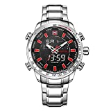 NAVIFORCE Men's Multifunction Dual Display Digital Quartz Watch Orologio da Polso da Uomo Multifunzione Luminoso/Analogico-digitale/Banda in Acciaio inossidabile Sportivo casuale