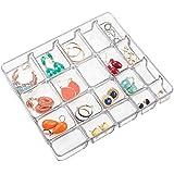 mDesign - Bandeja organizadora de bijouterie, con tapa; organiza anillos, aros, pulseras, collares - 20 compartimientos - Claro