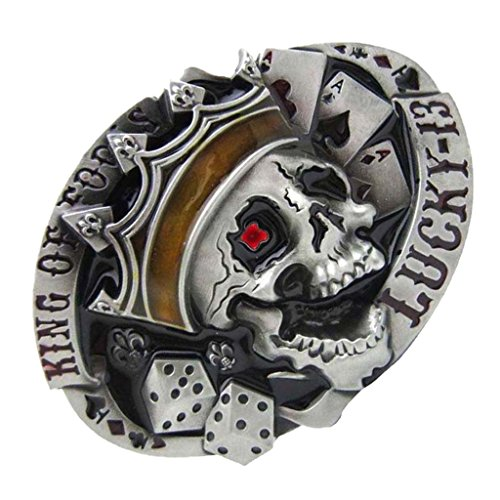 Perfect Metallic Belt Buckle Skull Pattern Retro Style for Casual Business Work Pants - Black, as described