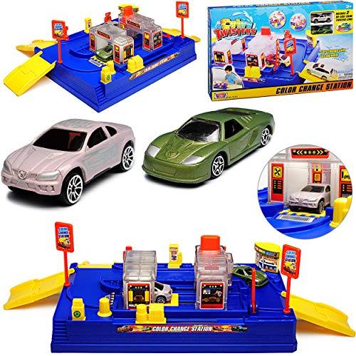 Motormax Waschstrasse mit farblich ändernden Fahrzeug und Zubehör mit vielen Funktionen