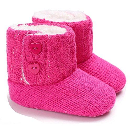 Winter-Baby-Säuglingsjungen-Mädchen Stricken Woolen warme Schnee-Stiefel-Schuhe (6-12 Months, Rose) (Kleinkind 9-schnee-stiefel-jungen Größe)