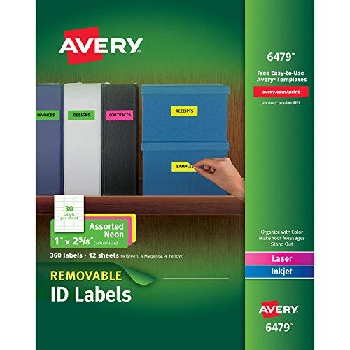 Avery etiquetas multiuso, extraíble, varios colores neón, 1x paquete de 2.625pulgadas, de 360(6479)