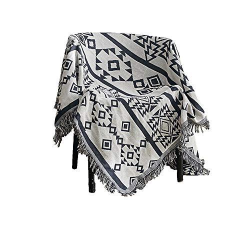 coperta cotone,Cuscino per divano geometrico antiscivolo resistente all'acqua in Europa e in America, copridivano color grigio-nappa lavorato a maglia blu -90 * 180 cm
