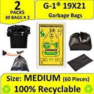 G-1 Garbage Bags Black Colour - Pack of - (2, 19 X 21)