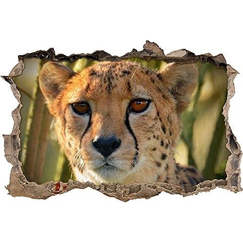 ghepardo di grazia nel muro svolta giungla in look 3D, parete o in formato adesivo porta: 92x62cm, autoadesivi della parete, autoadesivo della parete, decorazione della parete - Grazie Foto Di Compleanno Si Carte