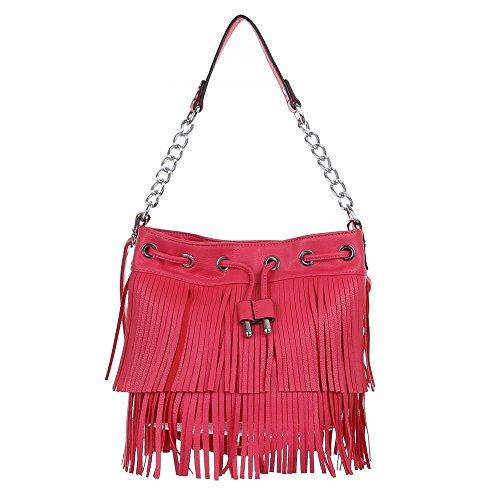 Schultertasche Handtasche mit Fransen Beige Pink