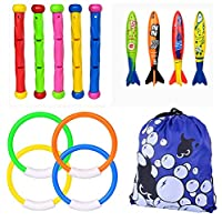 Diving Pool Toys, Underwater Diving Toys Set Includes 5 Pcs Diving Sticks, 4 Pcs Toypedo Bandits, 4 Pcs Diving Rings, Fun Children Diving Toys for Diving Swimming Pool