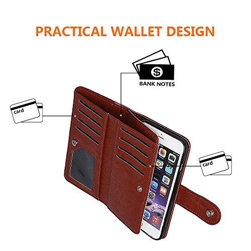 """xhorizon MLK [upgrade] 2-en-1 design Support de voiture remarquable pour téléphone portable à deux volets Folio Portefeuille en cuir pour iPhone 6/ iPhone 6S [4.7""""] (noir) café"""