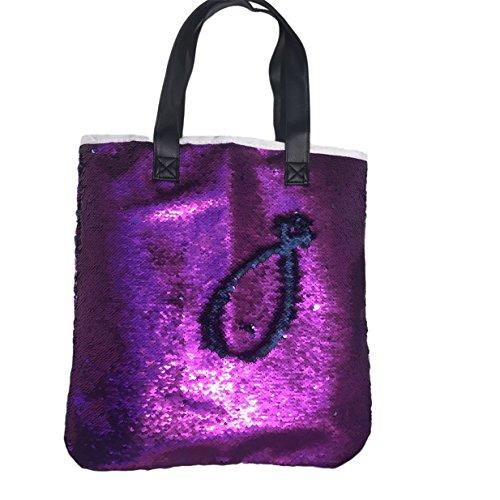 Lalang Meerjungfrau Stil Farbige Pailletten Beiläufige Retro Paket Beutel Messenger Handtasche Schultertasche (Blau + gold) Lila + blau