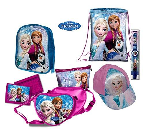 Set 7 pezzi Frozen, zaino, portafoglio, sacca-zaino piscina, orologio, borsa, astuccio e cappellino. Disney originali