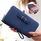 Getko With Device Women's Girls Ladies Wallet Purse Clutch Hand Purse Phone Bag Case Cradit Card Holder For Women's Wallet With Hideaway Wristlet(Blue Color)