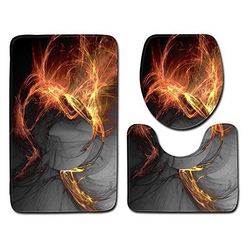 CHAOSE Badezimmer Gemalt, Abstrakt Dreiteilige Toilette Flannel Carpet Absorbent Rutschfeste Fußmatten 45x75cm + 45x37.5cm + 45x35cm (Wiedergeburt der Flamme)