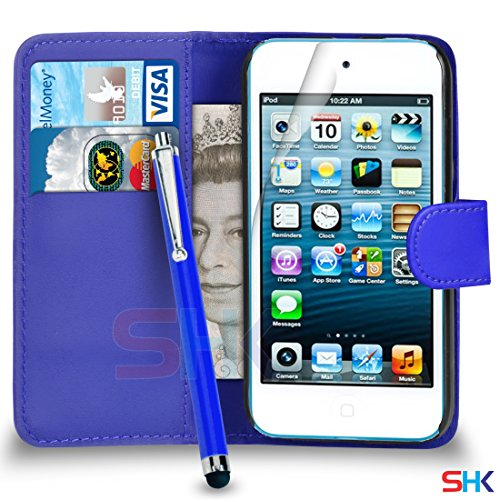 Apple iPod Touch 5 Blue PU-Leder-Mappen-Schlag-Fall-Abdeckungs-Beutel + Big Stylus Pen + Screen Protector & Poliertuch VON SHUKAN (Touch Screen Ipod Big)