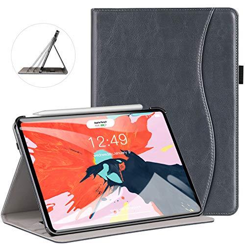ZtotopCase Hülle für iPad Pro 12.9 2018,Unterstützt Das Aufladen des Stift,Premium Leder Leichte Geschäftshülle mit Ständer,Kartensteckplatz,Auto Schlaf/Aufwach Funktion,Mehrfachwinkel,Grau