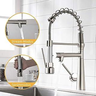 Amadi tap Kitchen Mixer taps, Kitchen Mixer tap, Shower, extendible Spiral Spring Fitting, Kitchen Sink Mixer tap Dish Rinse Mixer, Brushed Nickel