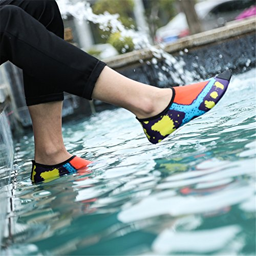 SAGUARO® Pelle Scarpe piedi nudi acquatico Aqua calzini per Beach Swim Surf Yoga arancia