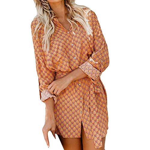 FIRSS Damen Bedruckt Ballkleid | Knopf Minikleid | Cardigan Kleider | Asymmetrisch Kleider |...