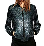 Vinyst Womens Zip-up Sequins Big Pockets Funky Trench Coat Outwear Blue S