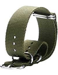 YISUYA 20mm G10 NATO Military Nylon Watch Straps 2.0cm Durable Canvas Fabric Mens Watch Bands Army Green