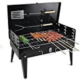 DZQA Portable Briefcase Style Folding Barbecue Grill Toaster Barbeque