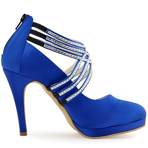 ElegantPark EP11085-PF Femme bout Ronde Plate-Forme De Haut Talon Zip Bretelles En Satin Chaussures De Mariage Bleu