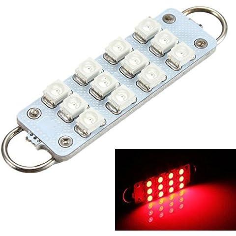 Yongse Rosso 44 millimetri a 12 LED della lampadina 3528 SMD 12V Loop automobile rigido (Lampadina Loop Rigido)
