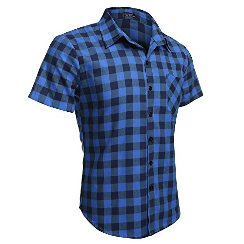 Aulei Fashion herren shirt men t-shirt 2016 Sommer Casual Mode kurzarm Hemd kariert Blau