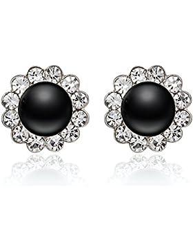 evbea® Vintage Schwarz Faux Perle Clip auf Ohrringe Fashion Kristall Cute Flower Ohrringe für Frauen