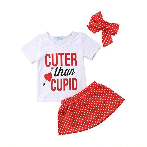 ZXCVBN 3Pcs Kleinkind Kinder Mädchen Kleidung Set Kurzarm Baumwolle T-Shirt Tops + Polka Dot Tutu Minirock Stirnband Outfits Sunsuit Kleidung,6M (Polka Sunsuit Dot)