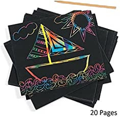 Jef craft Rainbow Art Scratch Paper Sheets with Stylus, 20 Pages