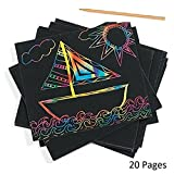 #10: Jef craft Rainbow Art Scratch Paper Sheets with Stylus, 20 Pages