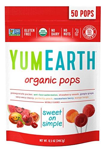 Image of Yummy Earth Organics, Lollipops, 50 Pops, verschiedenen Geschmacksrichtungen, 12,3 Unzen (349g)