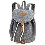 Designer Rucksack aus Filz mit Leder Applikationen sehr leicht backpack unisex (Grau)