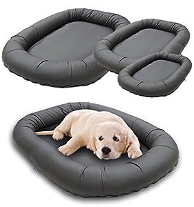 Luxus Hundebett Kunstleder grau, das Hundekissen Sunny Oval, waschbarer Hundeplatz für Hunde in 3 Größen M, L, XL