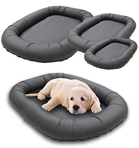 Luxus Hundebett Kunstleder grau, das Hundesofa Sunny Oval, waschbares Tierbett für Hunde und Katzen in der Größe M ca. 90 x 70 cm (Waschen Ca)