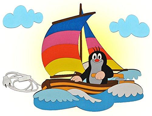 Wandlampe Holz - der kleine Maulwurf - Lampe mit Schalter für Kinder - Kinderzimmer Kinderlampe Wandleuchte Boot Segelboot
