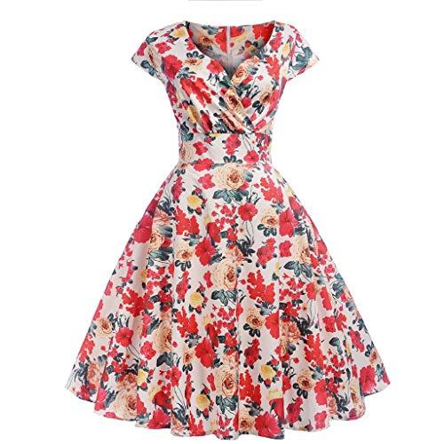 (Soupliebe Frauen Vintage Kurzarm V Ausschnitt Abenddruck Party Prom Swing Dress Abendkleider Cocktailkleid Partykleider Blusenkleid)
