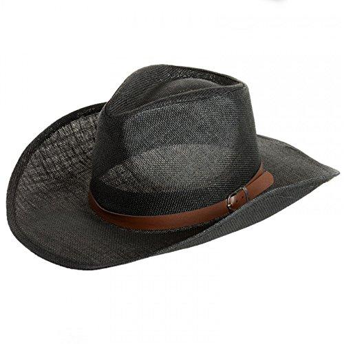 (CASPAR Herren Stroh Hut/Panama Hut/im Cowboy Stil mit braunem Gürtelband/Stetson - viele Farben - HT009, Farbe:schwarz;Hutgröße:L/XL - 60cm KU)