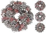 Kranz Tischkranz Türkranz 26 cm weiß rosa Tannenzapfen Blumen Weihnachtskranz (Modell 3)