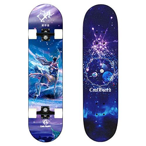 Anfänger Teen Skateboard Erwachsene Pinsel Street Travel Double Rocker Männer und Frauen Kinder Vier Räder Flash 12 Constellations, H, Flash Wheel