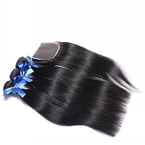 Qualité supérieure brésilienne Cheveux humains tissage droites 3trames avec fermeture en dentelle Couleur naturelle, 100% brésiliens vierges extension de cheveux (55,9cm 55,9cm 55,9cm + 40,6cm Free Part Fermeture)