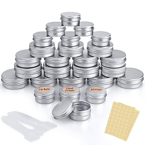 26 Stück Aluminium Döschen Leer Rund Reise Cremedose Tiegel für Creme Lotion Masken Kosmetik Nagelkunst(40ml,30ml,20ml)