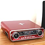 ION Audio Mustang LP In | 4-in-1 Classic Car-Styled Retro Music Centre with Turntable, Radio, USB and Aux inputs, Plus Room-Filling On-Board Stereo Speakers - Vibrant Red Finish