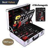 114-teilig Profi Haushalts-Werkzeugkoffer befüllt Werkzeugbox Werkzeugkisten Werkzeug Set Für Hauhalt, Garage und Werkstatt (Silber)