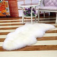 Kicode Blanc imitation peau de mouton Tapis Chambre Salon de lit (Blanc)
